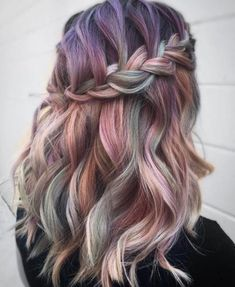 50 Mermaid Hair Style & Color Ideas This trend will make you wiggle in Because the pastel color tones are essentially cold however, they're seemingly warm! Hair Color Purple, Hair Dye Colors, Blue Hair, Ombre Colour, Color Tones, Bright Hair, Colorful Hair, Pastel Hair, Coloured Hair