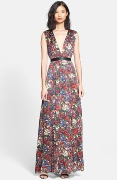 Alice + Olivia 'Triss' Print Hammered Silk Maxi Dress available at #Nordstrom