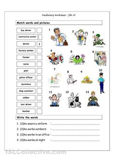 Vocabulary Matching Worksheet - Jobs (1). Good for the younger ESL teens.