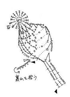 小鳥のモチーフ(編み図付き) : Crochet a little