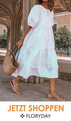 FloryDay / Solid Round Neckline Half Sleeve Midi A-line, Dress Floryday Dresses, Cotton Dresses, Fashion Dresses, Dress Outfits, Bohemian Style Dresses, Look Fashion, Dress Patterns, Ideias Fashion, The Dress