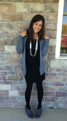 Wedge Bootie with Black Dress, Black Tights and Grey Cardigan