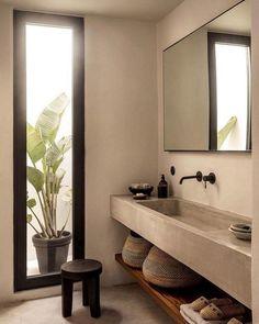 Zen Bathroom, Modern Bathroom, Small Bathroom, Bathroom Ideas, Bathroom Makeovers, Minimalist Bathroom, Natural Bathroom, Concrete Bathroom, Bathroom Renovations