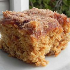 Cinnamon Sugar Apple Cake Recipe Desserts with brown sugar, canola oil, eggs, buttermilk, baking soda, vanilla extract, all-purpose flour, apples, sugar, cinnamon, melted butter