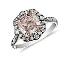 Vintage Fancy Purple Pink Cushion Micropavé Halo #Diamond Ring in #Platinum and 14k Rose Gold. #bluenile cc @ptjewelry
