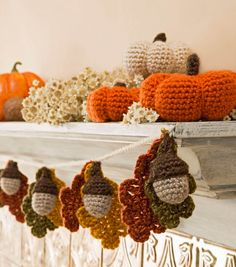 Acorn and Leaf Garland and Mini Pumpkins: free crochet patterns