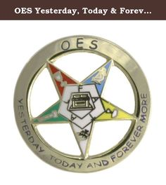 OES Yesterday, Today & Forever One Inch 24k Gold Plated Lapel Pin. The Order of the Eastern Star or OES cutout star design stamped enamel pin symbolizes the Order of the Eastern Star. This stamped lapel pin with full color star and 24K plating and butterfly clutch is a very high quality pin that your friends will appreciate.
