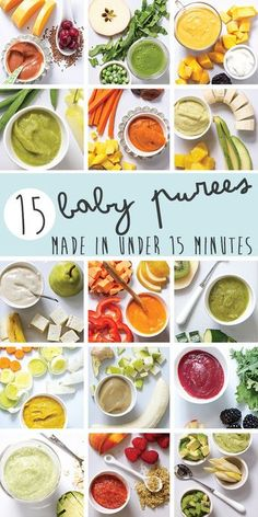 15 delicious and nutritious baby purees that can be made in less then 15 minutes each! Spinach Baby Food, Baby Food Puree, Apple Puree For Baby, Avocado Baby Food, Healthy Baby Food, Baby Puree Recipes, Baby Food Jars, Pureed Food Recipes, Introducing Baby Food
