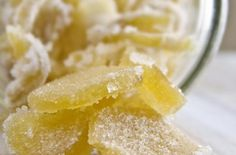 Candied Ginger - this is so easy to make and so yummy - save a couple of the eyes of the raw ginger to grow more ginger ! ginger is good for digestion and is effective for stopping nausea Candy Recipes, New Recipes, Snack Recipes, Dessert Recipes, Favorite Recipes, Eating Alone, Healthy Snacks, Stay Healthy, Healthy Eating