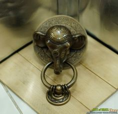 Antique Large BIG ELEPHANT Thai Head Door Knocker by ArtsofBrass