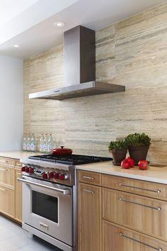 modern kitchen travertine tile backsplash white countertop
