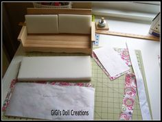 GiGi's Doll and Craft Creations: 18 inch Doll Furniture for Living Room Doll House Sewing Doll Clothes, Sewing Dolls, Ag Dolls, Girl Dolls, Barbie Clothes, Minis, Girls Dollhouse, Dollhouse Ideas, American Girl Furniture