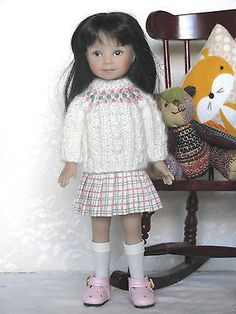 """Dianna Effner Little 8""""  Heartstrings doll ~ Creamery Sweater and skirt outfit ~"""