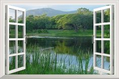 "Peaceful Lake with Green Mountain and Trees Open Window Mural Wall Sticker - 36""x48"""