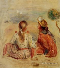 Pierre Auguste Renoir Young Girls On The Beach oil painting reproductions for sale