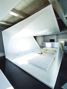 """The """"Folded"""" Crib comes from G&R Studio and its design was developed by the joint efforts of Hector Ruiz-Velazquez and Javier Garcia. Found on The Designer Pad, this fascinating looking apartment is an example of how geometry can blend with interior design in order to achieve... #8220Folded8221, #Incredible, #Perceptions, #Playing, #Space"""