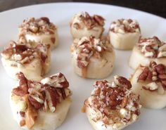 Banana Bites! Cut a banana in half, fill with natural peanut butter, cut into coins, and dip each coin into crushed raw pecans or other favorite healthy topping. Can be drizzled with honey for a touch of sweetness.