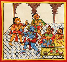 Lord Krishna and Gopis with Yashoda and Nandaraja (Phad Painting on Cloth - Unframed) Indian Artwork, Indian Folk Art, Traditional Paintings, Traditional Art, Phad Painting, Hindu Symbols, Pichwai Paintings, Tanjore Painting, Marble Painting