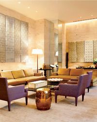The hotel's five-room Imperial Suite marries a subdued color palette with artful objects.