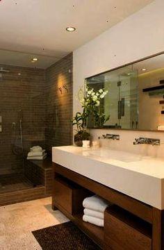 bathrooms - modern bathroom vanity double sinks frameless glass shower taupe tiles shower surround mirror Modern bathroom design with vanity