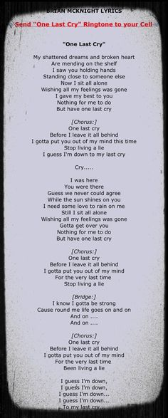 One last cry guitar chords