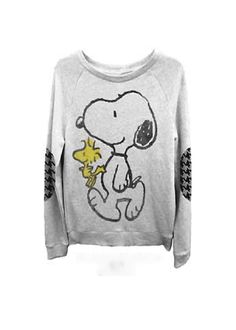 Peanuts – Snoopy &  Woodstock Junior's Sweatshirt In Light Grey Heather