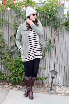 Striped Sweater + Military Jacket + Leggings + Riding Boots + Beanie #outfit #winter