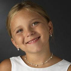Adorable! Illusion Pearl and Crystal Flower Girl Jewelry Set