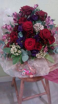 Valentine's box arrangement roses lisianthus alstromeria viburnum