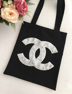 Chanel Tote Bag,Cotton Shopping Bag, Chanel Bag ,Chanel Gift, Funny Tote Bag, Market Bag, Chanel Wedding, Black Totes, For Her by GaDeCreations on Etsy