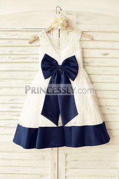 Princessly.com-K1000166-Deep V Back Ivory Lace Flower Girl Dress with navy blue bow-31