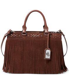 ac77b29109 Lauren Ralph Lauren Barton Suede Emery Tote - Handbags  amp  Accessories -  Macy s Ralph Lauren