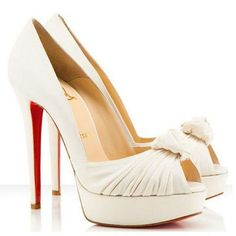 Christian Louboutin Greissimo 140mm Peep Toe Satin Pumps White Red Bottom Shoes