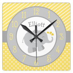 Personalized Elephant Clock   Yellow and Gray