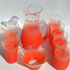 Mid Century 1950s Flamingo Pink Blendo Cocktail Set West by Vetera