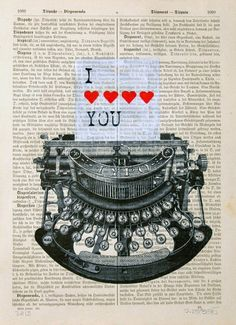 LOVE LETTER print poster mixed media painting by artretro on Etsy, $12.00