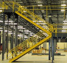 industrial mezzanine stairway, with railing, from Steele Solutions Inc