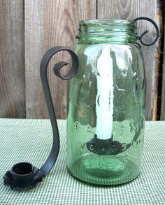 wrought iron candle holder for quart size mason jars