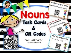 Nouns (Proper nouns and Common nouns) Task Cards & QR Codes {Kids}  The googly eyed kiddos are learning about nouns! Identify a proper or a common noun in every sentence.  Check the answer by scanning the QR code with a tablet, iPad or smartphone! QR codes, an easy way to integrate teaching and technology :)  $