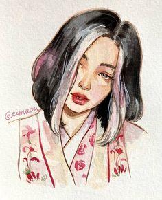 Girl Drawing Sketches, Art Drawings Sketches Simple, Drawing Art, Watercolor Art Face, Kpop Drawings, Arte Sketchbook, Celebrity Drawings, Portrait Art, Cartoon Art