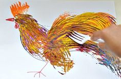 Fork Painting by kidsplaybox: Perfect for Chinese New Year of the Rooster! #Kids #Crafts #Fork_Painting #Chinese_New_Year