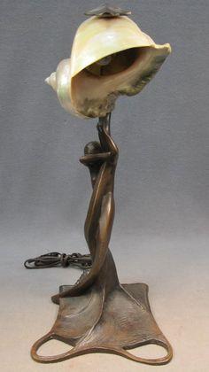 96: French Art Nouveau bronze & shell lamp - Nov 28, 2012 | Antiques Show in FL Mermaid Lamp, Art Nouveau, Shell Lamp, Bronze, 4 H, French Art, Shells, Table Lamp, Lighting
