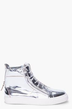 Giuseppe Zanotti Silver Mirror High Tops