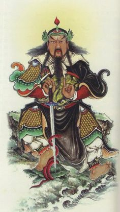 The protector of Wudang Mountain is the Dark Warrior (玄武 Xuánwǔ). The Dark Warrior is a turtle intertwined with a snake. It is one of the Si Shen (四神), four Chinese astrological figures that symbolize the cardinal directions and elements. Chinese Painting, Chinese Art, Ancient Tomb, Dark Warrior, Chinese Mythology, Japanese Tattoo Art, Taoism, Serpent, Poker Online