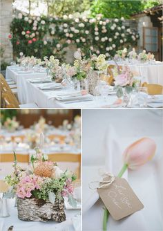 A gorgeous outdoor wedding reception that incorporates bark flower arrangements and simple, elegant place settings.