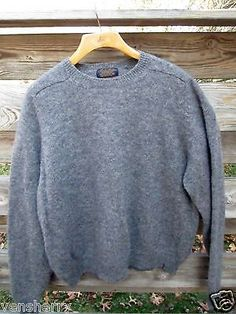 Brooks-Brothers-Gray-100-Shetland-Wool-Crew-Neck-Sweater-XL