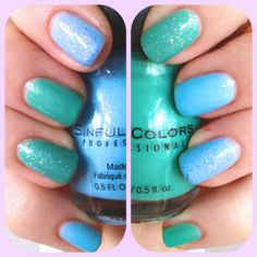 Inspirational photo by Stacemonger. Cute #pastel #springnails with Sinful Colors Cinderella and Mint Apple, and Sally Hansen Xtreme Wear Perky Pink #glitter #accentnail #mint #blue #nails #nailart #pantone @Bloom.com