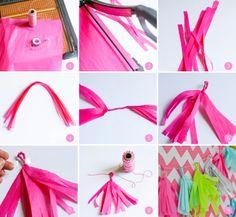 DIY para fiestas infantiles: guirnaldas de borlas de colores