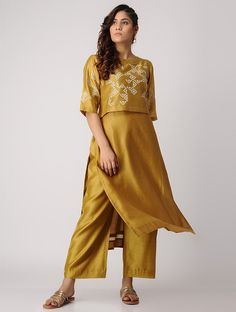 Mustard embroidered chanderi kurta with pants set of 2 Simple Kurti Designs, Kurta Designs, Blouse Designs, Pakistani Fashion Casual, Indian Fashion, Women's Fashion, Indian Designer Outfits, Designer Dresses, Kurtis With Pants