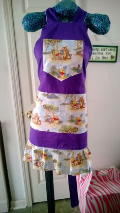 Purple and Pooh apron made by Fried Green Aprons